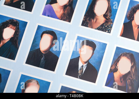 High School Year Book Page Close Up With Blank Faces. - Stock Image