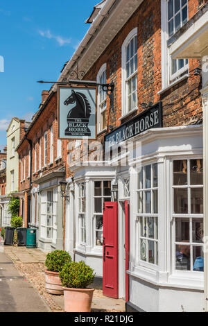 The Black Horse pub on Bedford Street in the village of Woburn, Bedfordshire, England - Stock Image