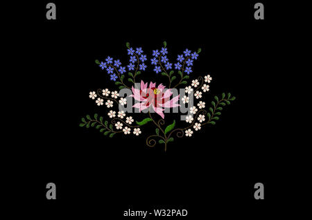 Black background with embroidered stylized large flower with red and pink petals and small blue and white flowers on twisted branches with leaves - Stock Image