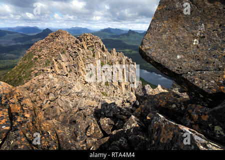 On the top of Mount Gould in Cradle Mountain–Lake St Clair National Park, Tasmania - Stock Image