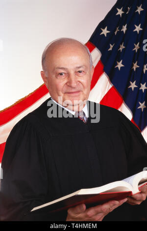 Male Judge in Front of American Flag, USA - Stock Image