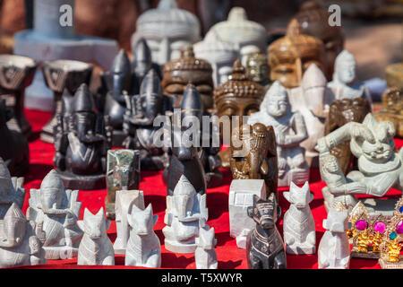 Ganesha indian elephant figurines at the local market in Delhi, India - Stock Image