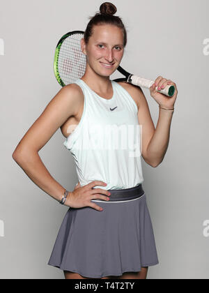 Czech tennis player Marketa Vondrousova poses for the photographer prior to the Czech Republic vs Canada Fed Cup relegation contest, on April 18, 2019 - Stock Image