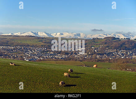 Kendal and the Lake District Fells. Cumbria, England, United Kingdom, Europe. - Stock Image