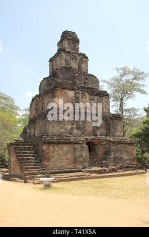 satmahal prasada in the polonnarawa archaeology site in the cultural triangle of sri lanka - Stock Image