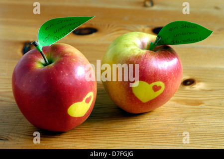 Apple, apples with heart and sign - Stock Image