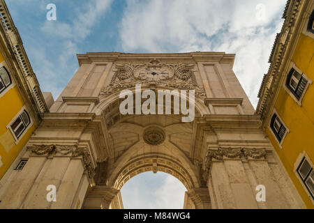 LISBON / PORTUGAL - FEBRUARY 17 2018: HISTORICAL ARCH IN CENTRE OF LISBON - Stock Image