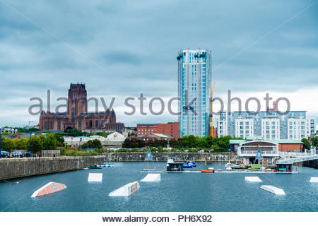 Liverpool Water Sports Centre training facility Queens Dock, Liverpool, showing new building regeneration & The Anglican Cathedral, Liverpool England - Stock Image