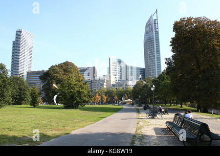Skyline of The Hague with highrise buildings around the Central Station, including Hoftoren and New babylon tower, - Stock Image
