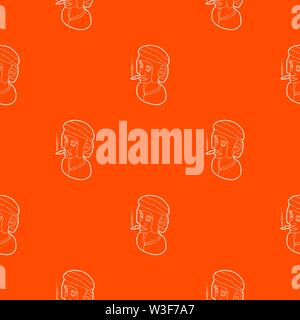 Rastafarian man wearing headband and smoking pattern vector orange - Stock Image