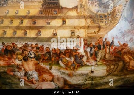 The Battle of Trafalgar, 21 October 1805,  detail, JMW Turner, 1822, - Stock Image