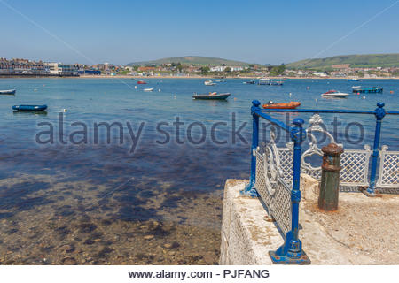 Swanage Bay in Dorset from the pier - Stock Image