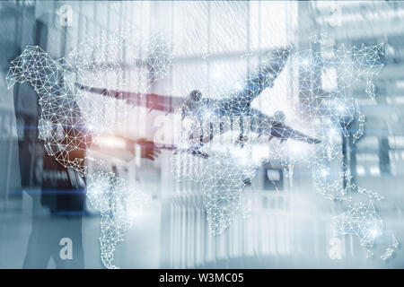 Global World Map Double Exposure Network. Telecommunication, International business Internet and technology concept - Stock Image