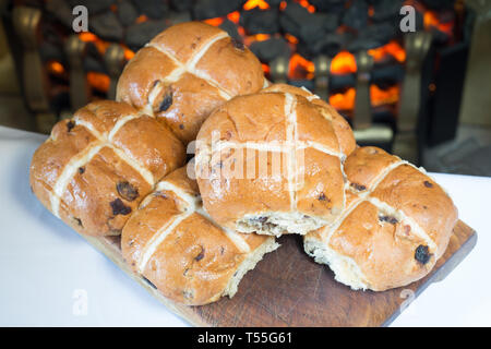 Traditional Easter treat of Hot cross buns - Stock Image