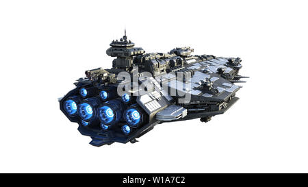 Alien spaceship flying, UFO spacecraft in flight isolated on white background, rear view, 3D rendering - Stock Image