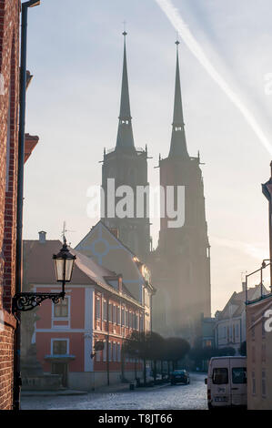 The Cathedral of St. John the Baptist in Wrocław against morning sun. Poland - Stock Image