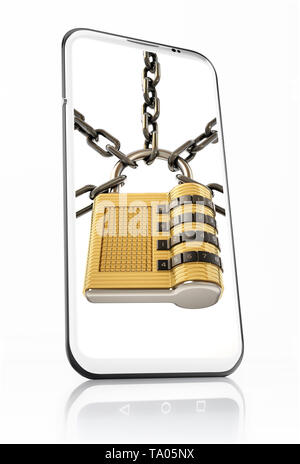 Padlock and chain on smartphone screen. 3D illustration. - Stock Image