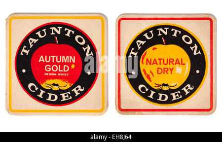Vintage Beermat Advertising Autumn Gold Taunton Cider (front and back view) - Stock Image