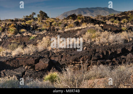 Carrizozo Malpais lava flow at Valley of Fires Recreation Area in Tularosa Basin near Carrizozo, New Mexico, USA - Stock Image