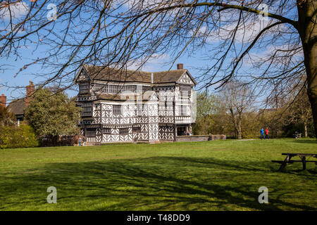 Little Moreton Hall, black and white half timbered Tudor manor house near Congleton in Cheshire, owned by the national trust - Stock Image