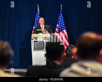 U.S. Secretary of State Mike Pompeo addresses the press at the White House Filing Center in Singapore on June 11, 2018. - Stock Image