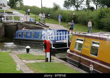 Foxton Locks, Leicestershire, UK. Passing Point, where Boats coming Down Pass Those Going Up the Canal. - Stock Image