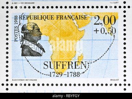 French postage stamp (1988): Navigators and Explorers series - Pierre André de Suffren (1729-1788) 'Admiral comte Pierre André de Suffren de Saint Tro - Stock Image