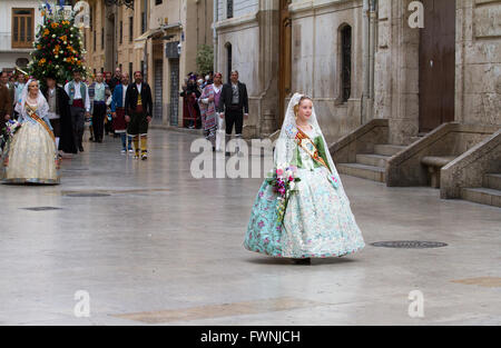 Holy procession at the annual offerings to the Lady of the Forsaken during Fallas Festival,  Valencia Spain - Stock Image