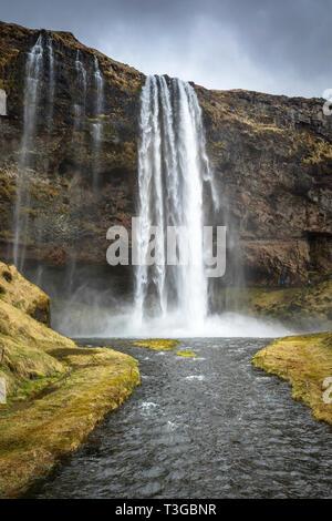 Seljalandsfoss waterfall in Iceland - Stock Image