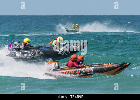 Newquay, Cornwall UK. 11th May, 2019. ThunderCat Racing UK has returned to the world famous Fistral Beach in Newquay for Rounds 1&2 of the 2019 ThunderCat Racing Championships. Spectacular action as the 4m inflatable boats race and power through the surf. Gordon Scammell/Alamy Live News - Stock Image