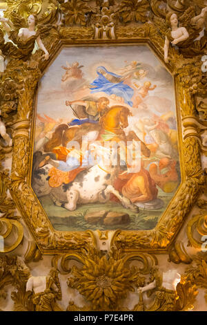 Italy Sicily Agrigento old town Cathedral Duomo Cattedrale Museo Diocesano Church religion Christian Catholic ornate wall painting colourful gold - Stock Image