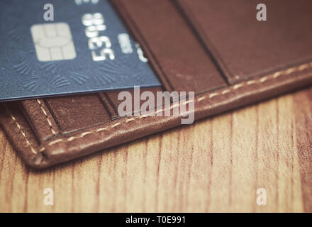 credit card in wallet - Stock Image