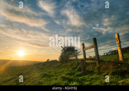 Sunset South Downs, Lewes Golf Course - Stock Image