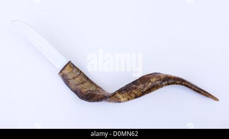 Goat horn handled knife - Stock Image