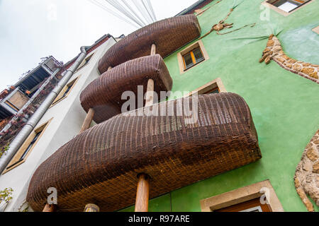 Dresden, Saxony, Germany, December 15., 2018: Rear facade of an artistic building in the Kunsthof-Passage in Dresden-Neustadt . - Stock Image