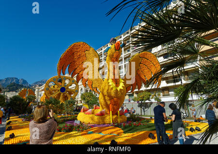February 16th 2019 Menton, France,  the 86th LEMON FESTIVAL (Sinbad the sailor and Roc) during the Carnival of NICE - Stock Image