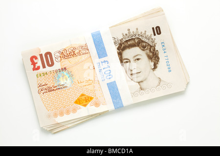 One Hundred Pound Bundle in Ten Pound Notes - Stock Image