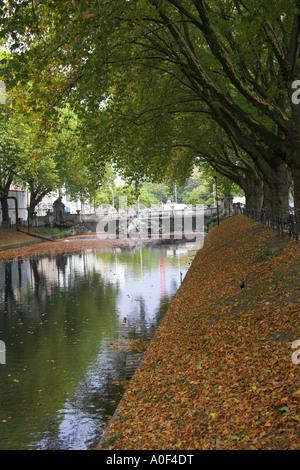 Dusseldorf Canal at Konigsallee Germany - Stock Image
