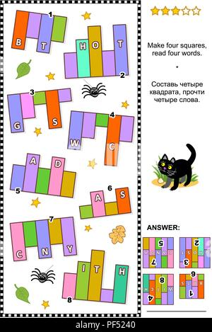 Halloween themed IQ training abstract visual word puzzle (English language): Make four squares, read four words. Answer included. - Stock Image