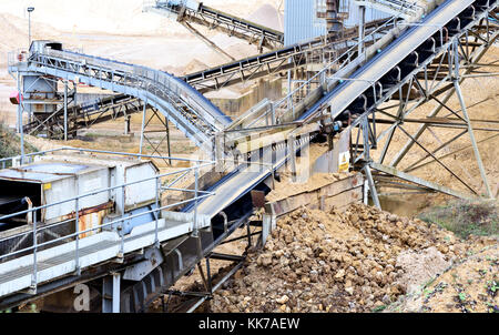 Local static Aggregate pit machinery conveyor belts used for processing sand and stone at a local gravel pit in - Stock Image