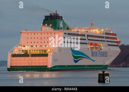 Brandnew ferry W.B. Yeats leaves Flensburg - the biggest vessel built at Flensburg so far - Stock Image