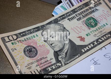 American ten dollars, 10$, money $$$ - Stock Image