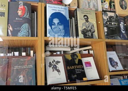 Roland Barthes book and various literary books in Livraria Poetria  bookstore window display in OPorto Porto Portugal Europe EU  KATHY DEWITT - Stock Image