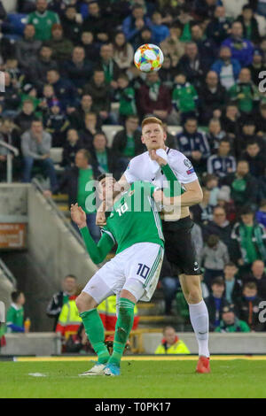 National Football Stadium at Windsor Park, Belfast, Northern Ireland. 21 March 2019. UEFA EURO 2020 Qualifier- Northern Ireland v Estonia. Action from tonight's game. Credit: David Hunter/Alamy Live News. - Stock Image