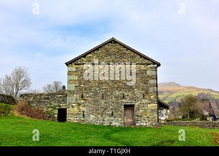 old farm building,Waterhead,Ambleside,Lake District,Cumbria,England,UK - Stock Image