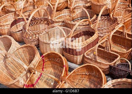 Wicker baskets rows at the bazaar in Kazimierz Dolny, Poland, Europe, bohemian tourist travel destination, sightseeing. - Stock Image