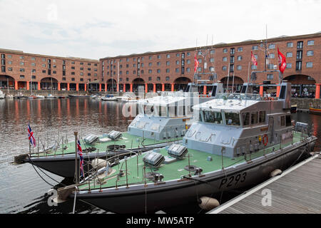 HMS Ranger (foreground) and HMS Smiter (background) Archer class patrol vessels in the Royal Navy visiting the Albert Dock Liverpool for the Tall Ship - Stock Image