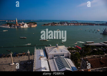 View from the bell tower - st. mark's campanile at the st mark's square in Venice - Stock Image