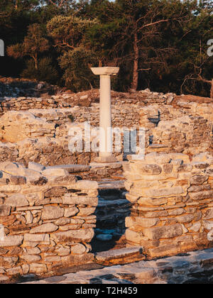 The old greek civilization ruins at Aliki marble port in central Thasos Island, Greece - Stock Image