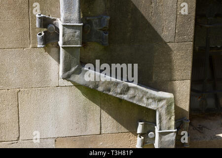 Ancient lead drainpipes on Corpus Christi College, Oxford - Stock Image